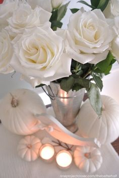 Flowers and Pumpkins for a fall party, bridal shower, or fall decor from One Project Closer