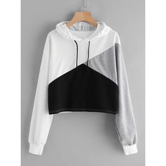 Shop Cut And Sew Panel Crop Hoodie online. SheIn offers Cut And Sew Panel Crop Hoodie & more to fit your fashionable needs. Shop Cut And Sew Panel Crop Hoodie online. Sweat Hoodie, Crop Top Hoodie, Hoodie Sweatshirts, Cropped Hoodie Outfit, Men's Hoodies, Hoodie Dress, Girls Fashion Clothes, Teen Fashion Outfits, Emo Fashion