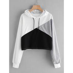 Cut And Sew Panel Crop Hoodie ($17) ❤ liked on Polyvore featuring tops, hoodies, multicolor, long sleeve hoodie, hooded sweatshirt, cropped pullover hoodie, cropped hooded sweatshirt and pullover hoodie