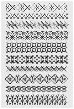 Blackwork Sampler Kit by Florashell Cross Stitch Design. Motifs Blackwork, Blackwork Cross Stitch, Blackwork Embroidery, Cross Stitch Borders, Cross Stitching, Cross Stitch Embroidery, Embroidery Patterns, Hand Embroidery, Cross Stitch Patterns