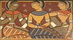 20121023083301-roy_untitled_three_figures_w4 Worli Painting, Fabric Painting, Saree Painting, Madhubani Art, Madhubani Painting, Indian Folk Art, Indian Artist, Jamini Roy, Ganesha Drawing