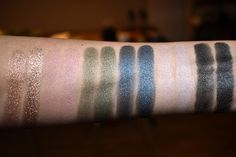 KIKO Water Eyeshadow in Champagne (200), Rosy Taupe (201), Olive Green (209), Midnight Blue (215), Light Taupe (227), Graphite (230) swatch