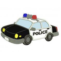 Police Cop Car Applique Machine Embroidery Digitized Design Pattern