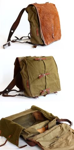 Vintage German Army Backpack WW2 Leather Canvas and by CrolAndCo