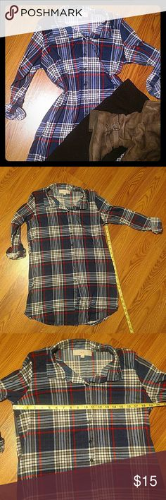 "Long Plaid Top Long button down plaid soft top. Perfect with leggings and boots Can be worn alone or with a shirt underneath. Sleeves are approximately 23"" when unrolled but can be buttoned to be shorter w.f. Tops Button Down Shirts"