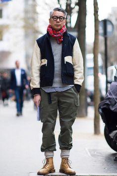 College Days cream varisty navy jacket tan wingtip boots