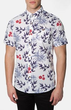 Men's 7 Diamonds 'Electric Blossom' Trim Fit Short Sleeve Floral Print Woven Shirt