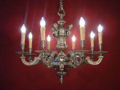 8 LIGHT VINTAGE BIG SOLID MAZARIN NICKEL CHANDELIER  OLD LAMP SILVER STEEL  sac-a-perle $1300