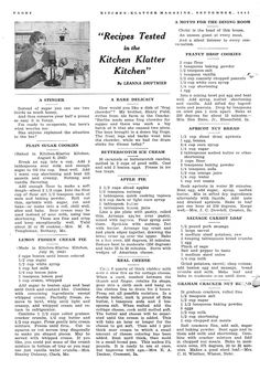 Kitchen Klatter Magazine, September 1942 Plain Suger Cookies, Lemon Frozen Cream Pie, Butterscotch Ice Cream, Apple Pie, Real Cheese, Peanut Drop Cookies, Apricot Nut Bread, Sausage Carrot Loaf, Graham Cracker Nut Bread