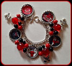 Chicago Bulls Bracelet NBA Unique Custom Sports & Themed Jewelry nfl,mlb,ncaa,nhl,nsl,nba, NBA  Charm Bracelet by SportsnBabyCouture on Etsy