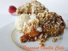 Cardamom Scented Peach Crumble Tart with Coconut Almond Crust | Fragrant Vanilla Cake