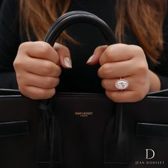 EVA PINK, exclusively from the Jean Dousset Diamonds La Vie En Rose® collection, is a handcrafted engagement ring shown with an Oval Cut diamond in 18K Rose Gold.