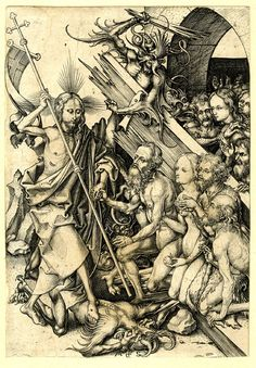 Christ in Limbo; he steps on a devil with his right foot and holds Adam's hand Engraving by Martin Schongauer