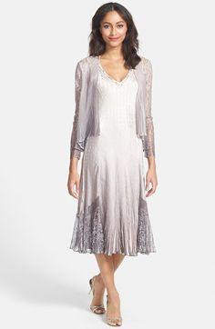 Komarov Embellished Mixed Media A-Line Dress & Jacket available at #Nordstrom