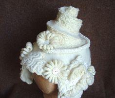 Wedding Cake  White Bridal Headpiece Hat by WanderingLydia on Etsy, $225.00