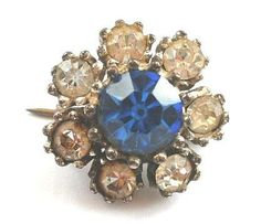 VTG 50s Diamond Crystal Sapphire Paste Daisy Brooch Silver Plate Flower PIN VGC | eBay