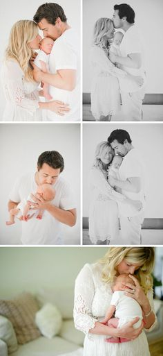 newnorn photos- love these! Especially the one with daddy and baby and how relaxed babys arms are. Adorable.