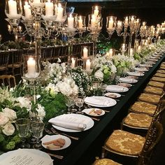 This beautiful candlelit #tablescape from the gala launch of #tiffanyandco's new Rome store would make the perfect #wedding decor inspiration for a black tie evening affair.