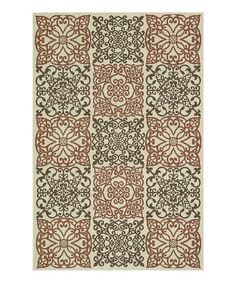 Take a look at this Ivory & Rust Filigree Augusta Rug by Loloi Rugs on #zulily today!