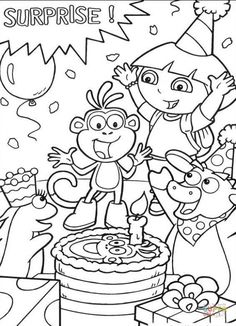 Jasey's: colouring station. Dora the Explorer in Boots birthday party coloring pages