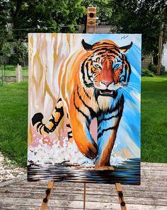 """Authentic Gold"" in acrylic by Lauren Elizabeth W. Bird Painting Acrylic, Tiger Painting, Acrylic Art, Watercolor Art, Small Canvas Art, Diy Canvas Art, Indian Art Paintings, Animal Paintings, Tableau Pop Art"