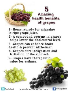 5 Amazing Health Benefits Of Grapes... (Love the asthma part because I have to admit that I have it!)