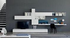 coin bureau blanc laqué, meuble tv assorti, peinture murale gris anthracite et carrelage sol assorti