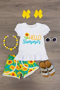 Expressive Baby Girl Set 2pcs Suit Stylish Newborn Infant Baby Girls Yellow Sunflower Tops Shorts Summer Outfit Set Clothes Clothing Sets