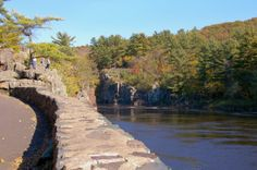 Looking at the Wisconsin side of the river from the concourse at Interstate State Park in Taylors Falls, Minnesota.