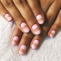 Pink neutral stripe nail look.