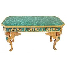 FRENCH EMPIRE STYLE MALACHITE BRONZE TABLE, 20TH C. found on Polyvore