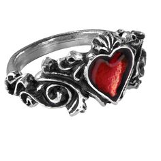 """Alchemy Gothic Betrothal Red Heart Ring A miniture, rococo masterpiece of romantic metaphor, with the blood red enamelled heart of passion. Approximate Dimensions Height 0.94"""" x Width 1.02"""" x Depth 0."""