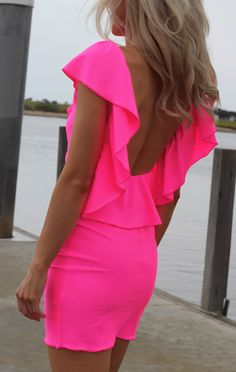 PINK NEON RUFFLE DRESS