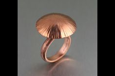 Portobello Mushroom Copper Ring - Let your accessories imitate art and nature with this delightfully handmade copper Portobello Mushroom ring that is guaranteed to make a statement. Copper Art, Copper Cuff, Copper Necklace, Handmade Rings, Handmade Copper, Handmade Jewelry, Paper Jewelry, Metal Jewelry, Jewelry Rings