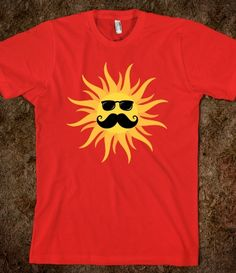 Funny sun with mustache and sunglasses, red summer t-shirt