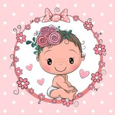 Cartoon bawith flowers on a pink background vector Boy Cartoon Drawing, Baby Drawing, Baby Cartoon, Cute Cartoon, Little Girl Illustrations, Diy Photo Booth Props, Baby Girl Clipart, Box Frame Art, Baby Shower Souvenirs