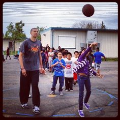 """""""Francisco Garcia teaching students how to shoot at Kings Fitness Timeout!"""""""