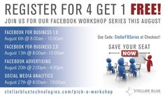 Have you been thinking about Facebook advertising more and more lately? You're not alone! Join us this August for our 4 part Facebook Workshop series where we will cover all the basics and beyond of Facebook for business, including Facebook advertising. Register here http://stellarbluetechnologies.com/event/facebook-advertising/?pk_campaign=0814FA30PI&pk_kwd= Register for all 4 workshops in the series and get one of them for free! ‪#‎facebook‬