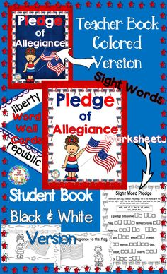 Need something for your US History or Social Studies for the young child? This Pledge of Allegiance resource and activities are for Kindergarten, grade, grade. Reading Resources, Reading Activities, Elementary Teacher, Elementary Education, Pledge Of Allegiance, Teacher Books, First Grade Classroom, Social Studies, Worksheets