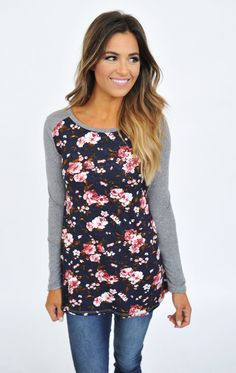 Grey/Navy Floral Front Long Sleeve - Dottie Couture Boutique