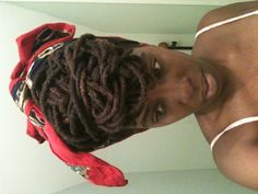 Loc updo tied up