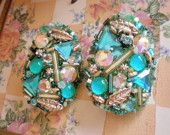 Hand made 80's clip  earrings in turquoise blue and silver beads, rhinestones and findings