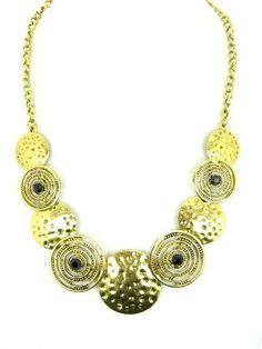 Goudkleurige halsketting met zwarte strassteentjes €6,95 bij www.deoorbel.nl
