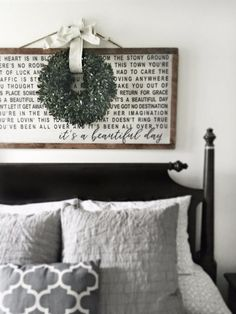 fine 47 Wreath Over Bed for Bedroom Christmas Decoration