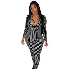 Fashion New Women Deep V Neck Long Sleeve Skinny Multicolor Print Club Jumpsuit