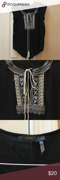 THML from Stitch Fix Filmy black shirt with tassle tie design. Very comfortable. Tops Blouses