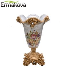 31.11$  Watch more here - ERMAKOVA European Style Resin Artificial Flower Vase Modern Dried Table Flower Vase Assortment Modern Home Wedding Gift Decor   #buychinaproducts