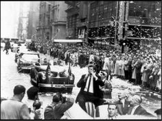 Vintage 1958, Van Cliburn receives NYC Ticker Tape Parade for winning the First International Tchiakovsky Piano Competition in Moscow, NYC, www.RevWill.con