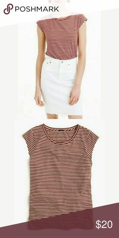 J.Crew Brown Striped T-Shirt Cap sleeves. Slim fit. Cotton/linen blend. Dress up or down! J. Crew Tops Blouses