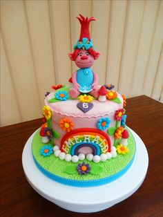 Image result for rainbow troll cake ideas